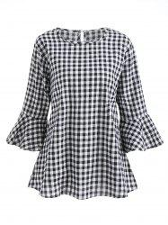 Three Quarter Sleeve Tartan Blouse -