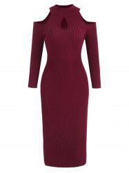 Cold Shoulder Full Sleeve Knit Dress -