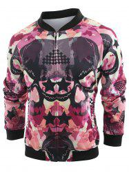 Skull and Star Print Baseball Jacket -