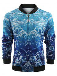 3D Sea Wave Print Zip Up Jacket -