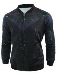 Zip Up 3D Vortex Print Baseball Jacket -