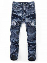 Distressed Zipper Leg Pockets Jeans -