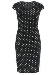 Polka Dot Short Sleeve Bodycon Dress -
