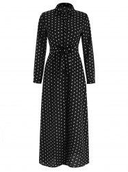 Full Sleeve Polka Dot Maxi Wrap Dress -
