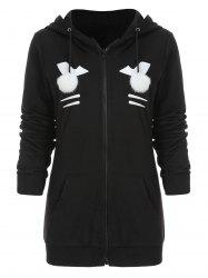 Zip Up Black Cat Hoodie avec Pom Ball -