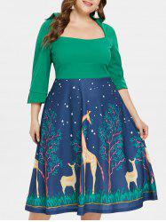 Plus Size Graphic Flared Midi Dress -