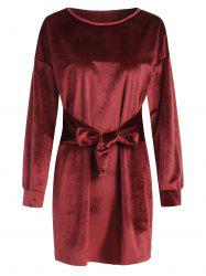 Tie Front Velvet Straight Dress -
