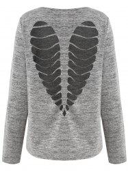 Long Sleeve Heart Cut Out Marled T-shirt -