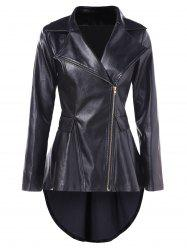 High Low Faux Leather Tunic Jacket -