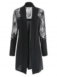 Lace Panel Open Front Cardigan -