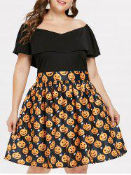 Plus Size Halloween Pumpkin Off Shoulder Dress -