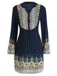 Buttoned Ethnic Print Dress -