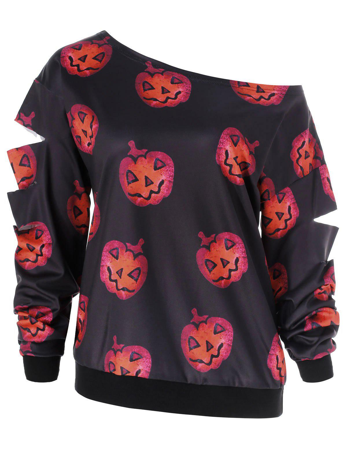 Buy Halloween Pumpkin Print Ripped Sleeve Sweatshirt