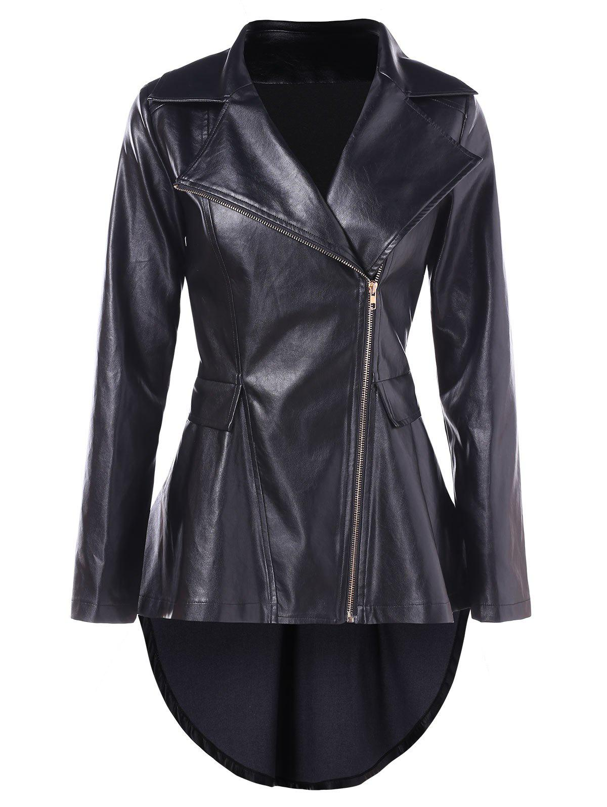 Cheap High Low Faux Leather Tunic Jacket
