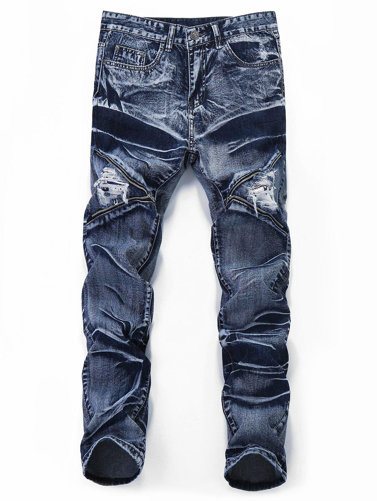 Affordable Distressed Zipper Leg Pockets Jeans