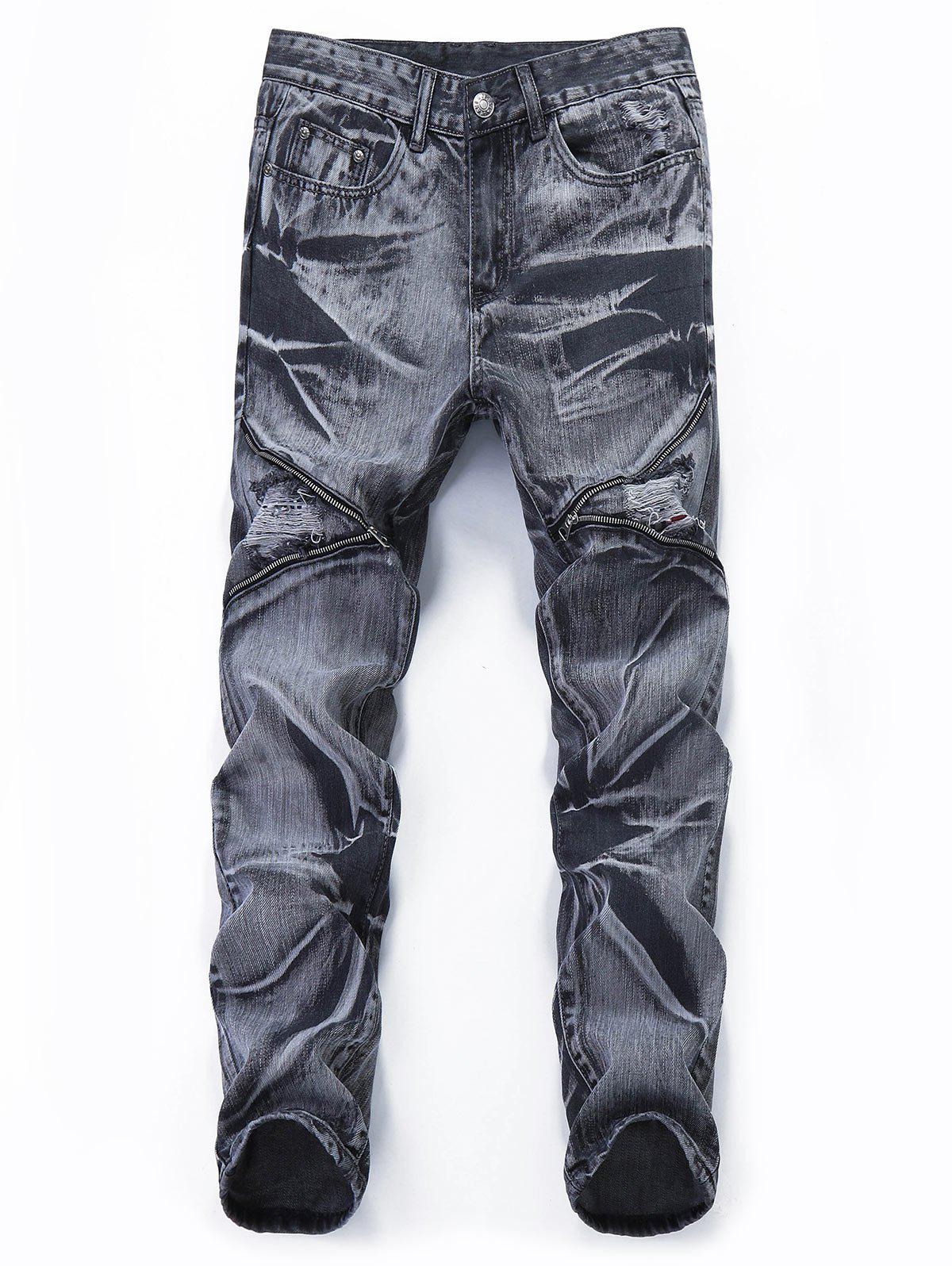 Unique Distressed Zipper Leg Pockets Jeans