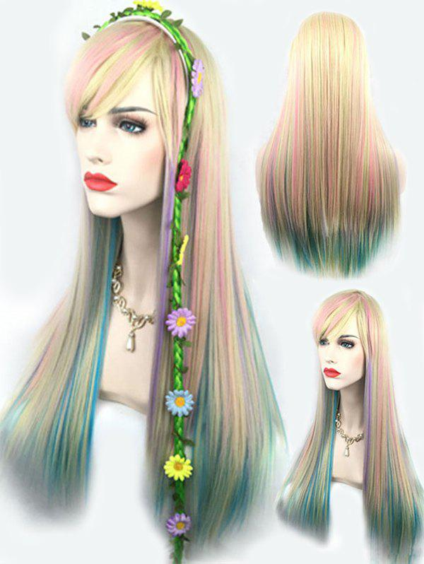 Outfit Long Side Bang Colorful Rainbow Straight Party Cosplay Synthetic Wig