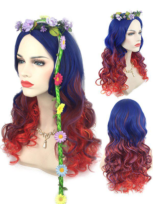 Trendy Long Center Parting Colorful Rainbow Wavy Synthetic Wig