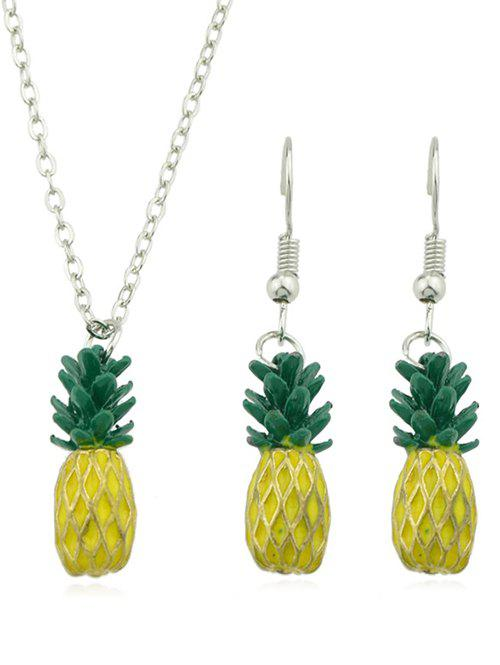 Trendy Pineapple Design Pendant Chain Necklace Earrings Set