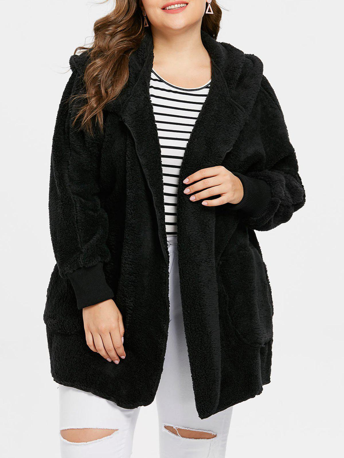 f4eb64036dc 2019 Collarless Plus Size Faux Fur Coat