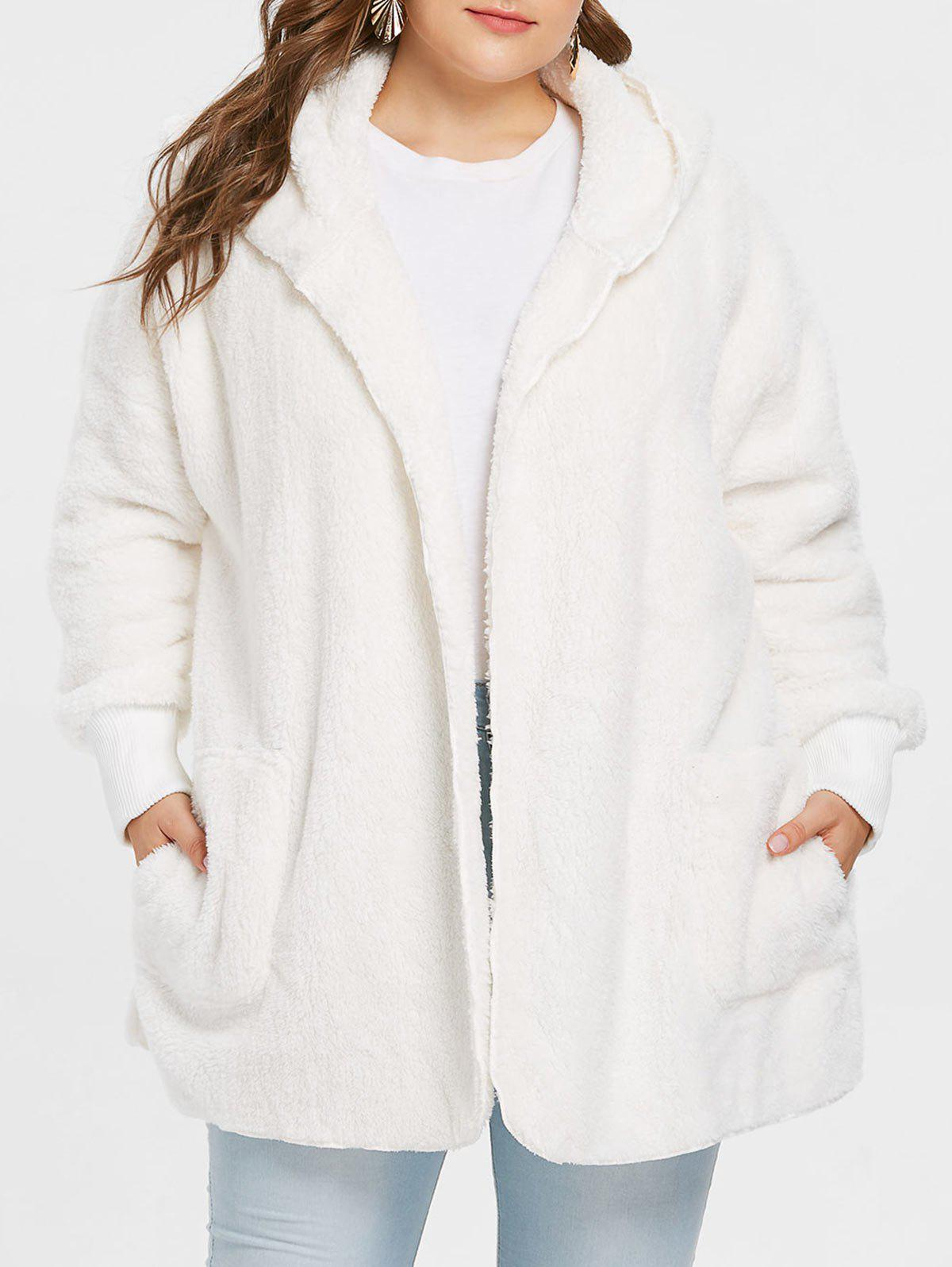 Shops Collarless Plus Size Faux Fur Coat