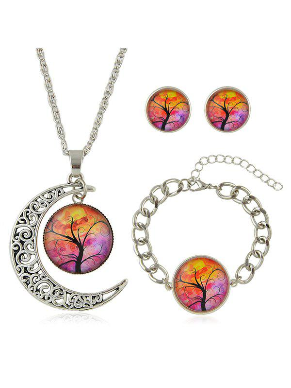 New Crescent Moon Tree Printed Pendant Necklace Bracelet Earrings Set