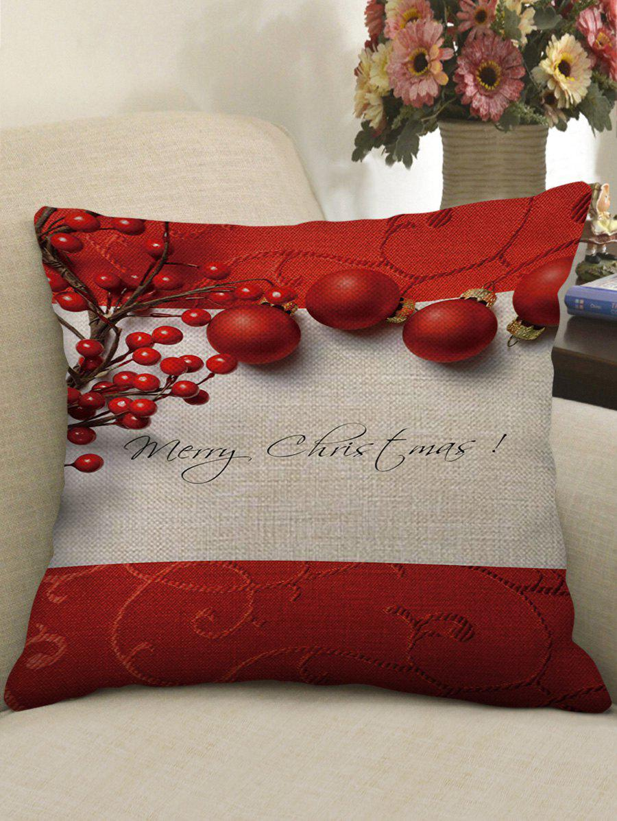 Online Merry Christmas Balls Print Decorative Sofa Linen Pillowcase