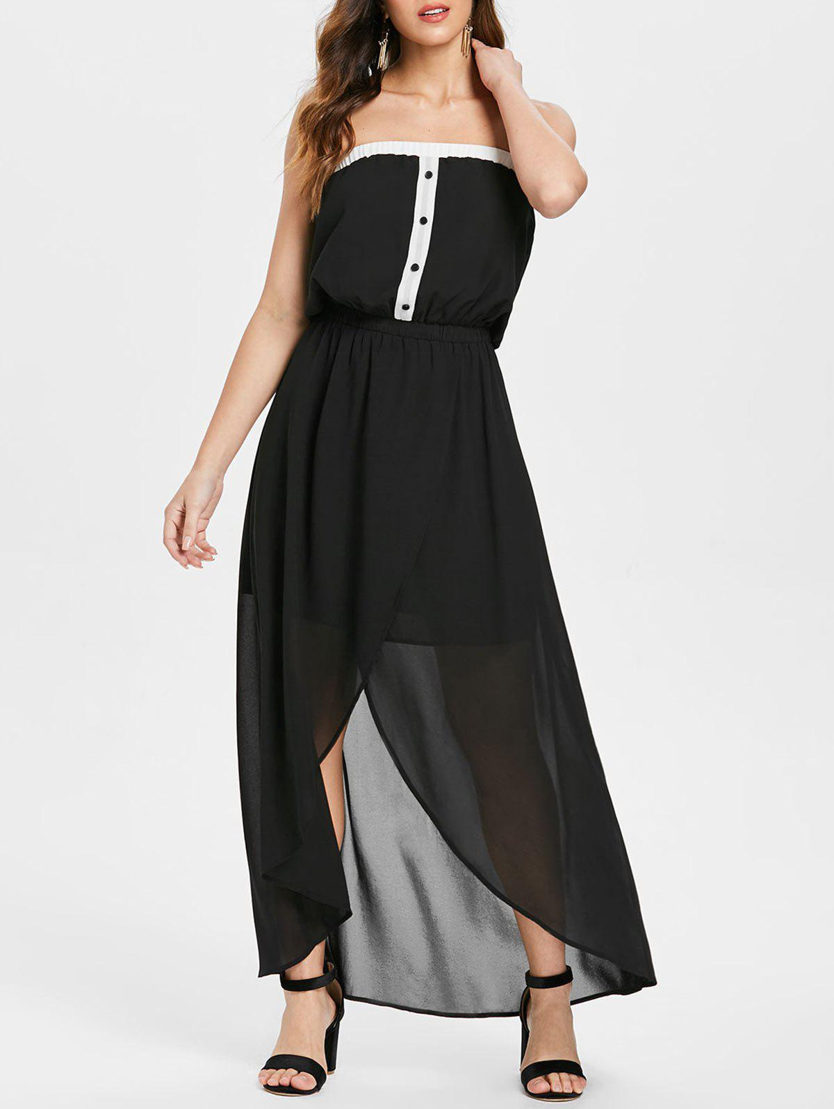Shop Half Buttons Bandeau Strapless Chiffon Dress
