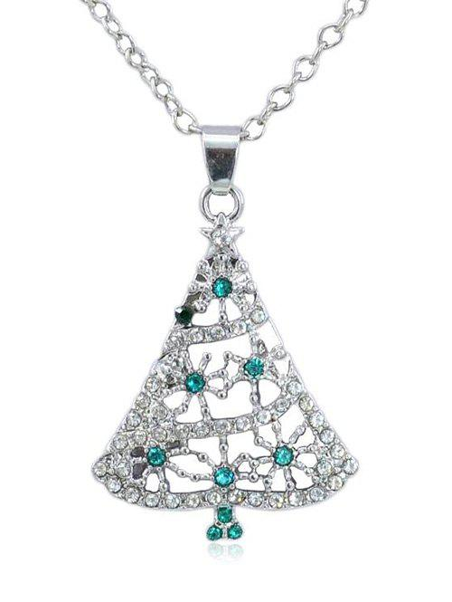 Online Rhinestone Christmas Tree Chain Necklace