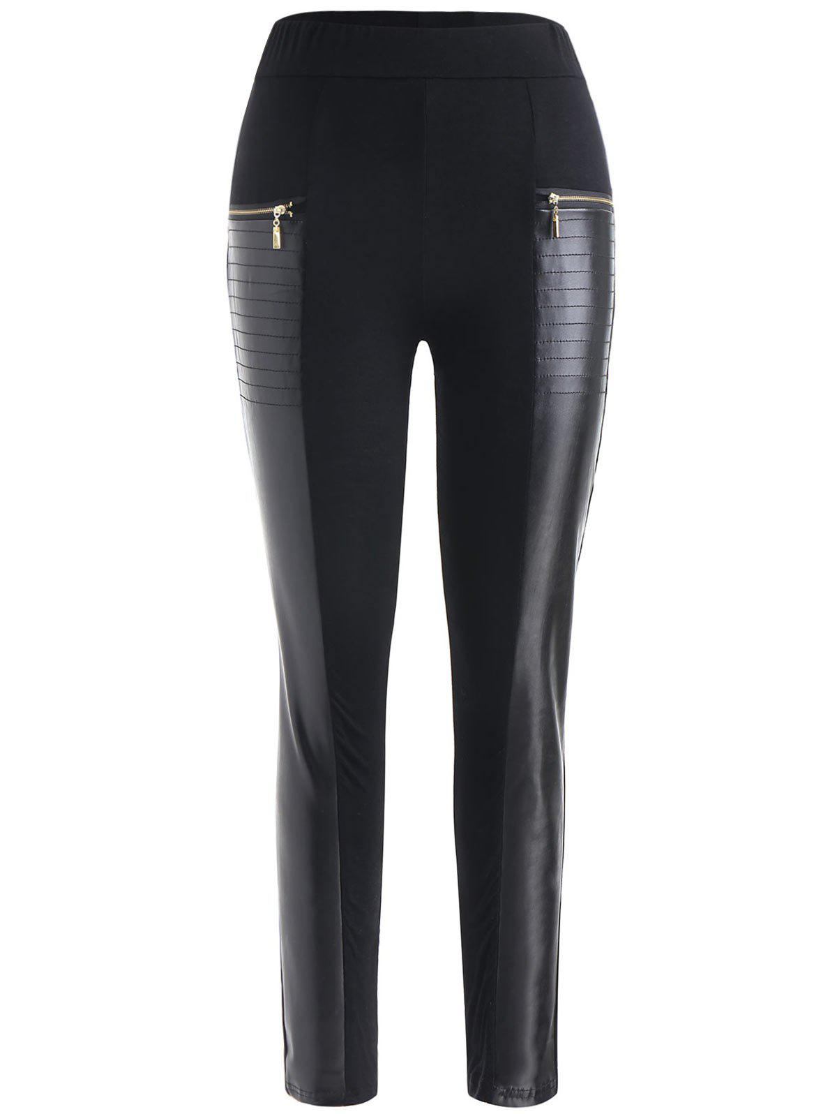 Buy Front Zipper Faux Leather Insert Pants