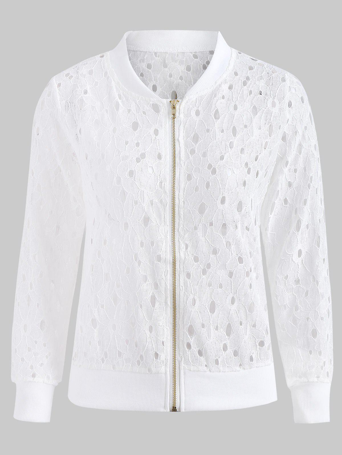 Chic Zip Up Lace Jacket