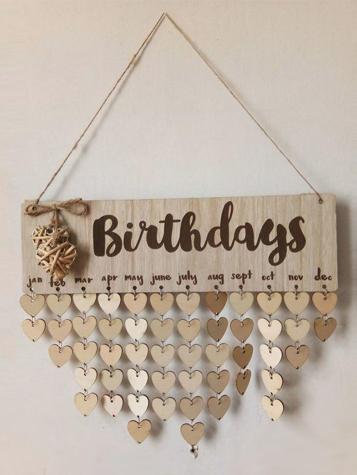 Unique Wall Hanging DIY Wooden Birthday Calendar Reminder Board