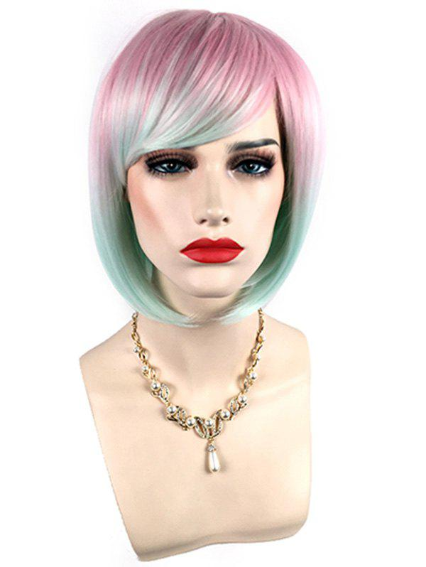 Discount Short Side Bang Colorful Straight Bob Synthetic Wig