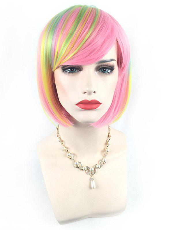 Trendy Short Side Bang Colorful Straight Bob Synthetic Wig