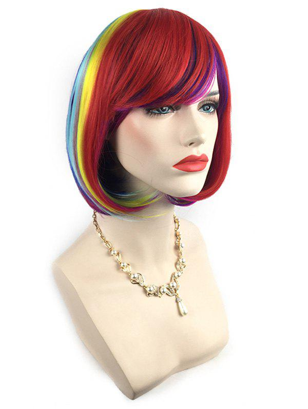 Cheap Short Side Bang Colorful Straight Bob Synthetic Wig