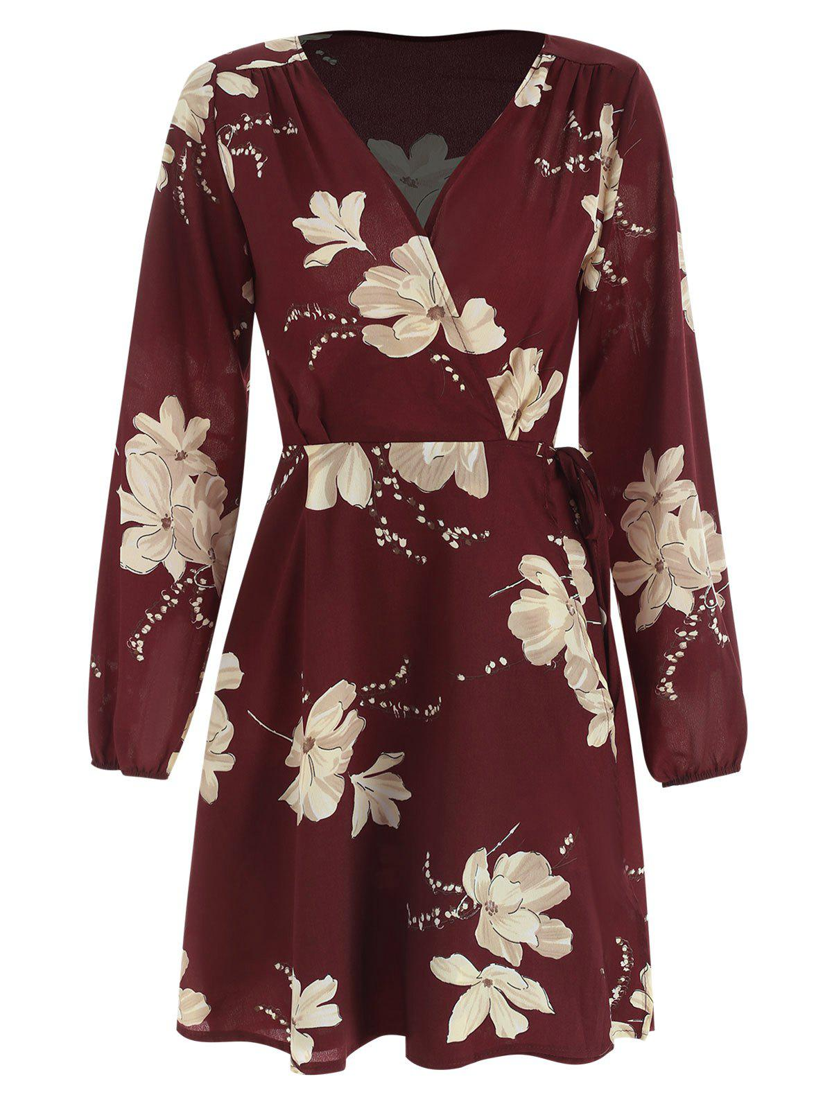 Best Floral Print Full Sleeve Mini Wrap Dress