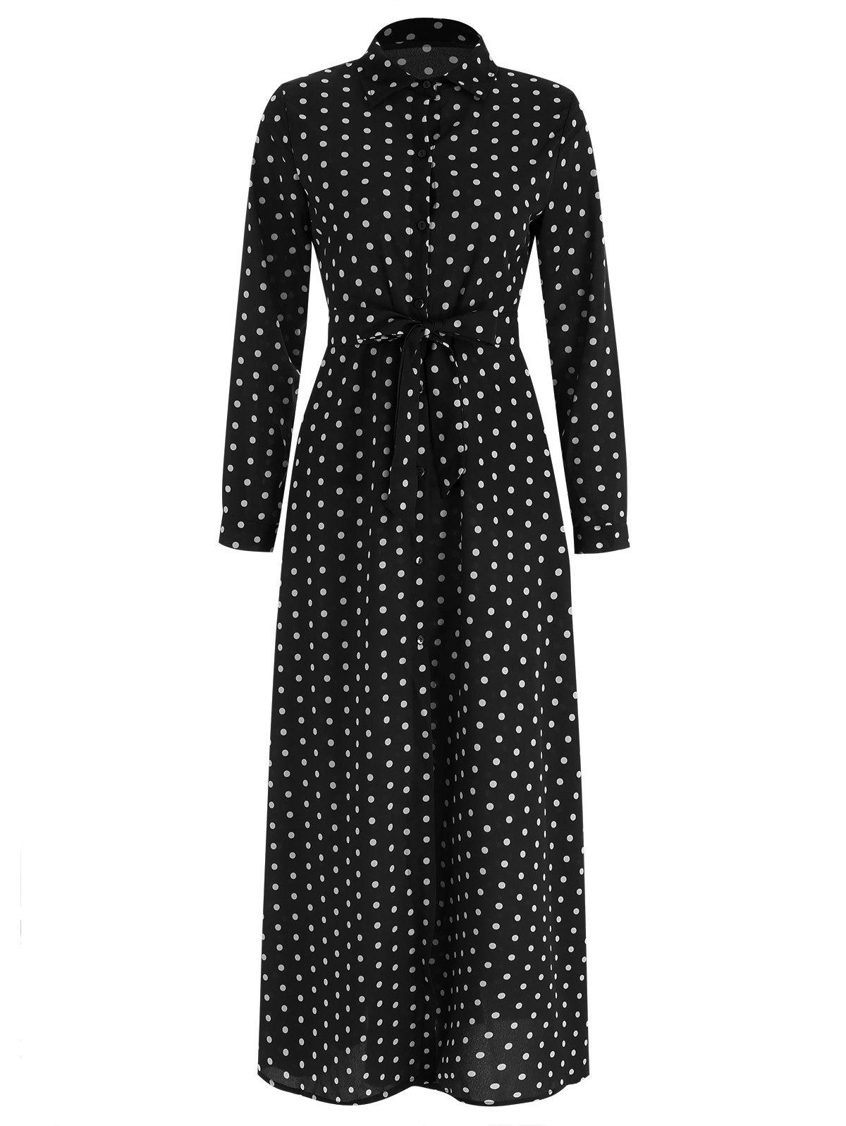 Latest Full Sleeve Polka Dot Maxi Wrap Dress