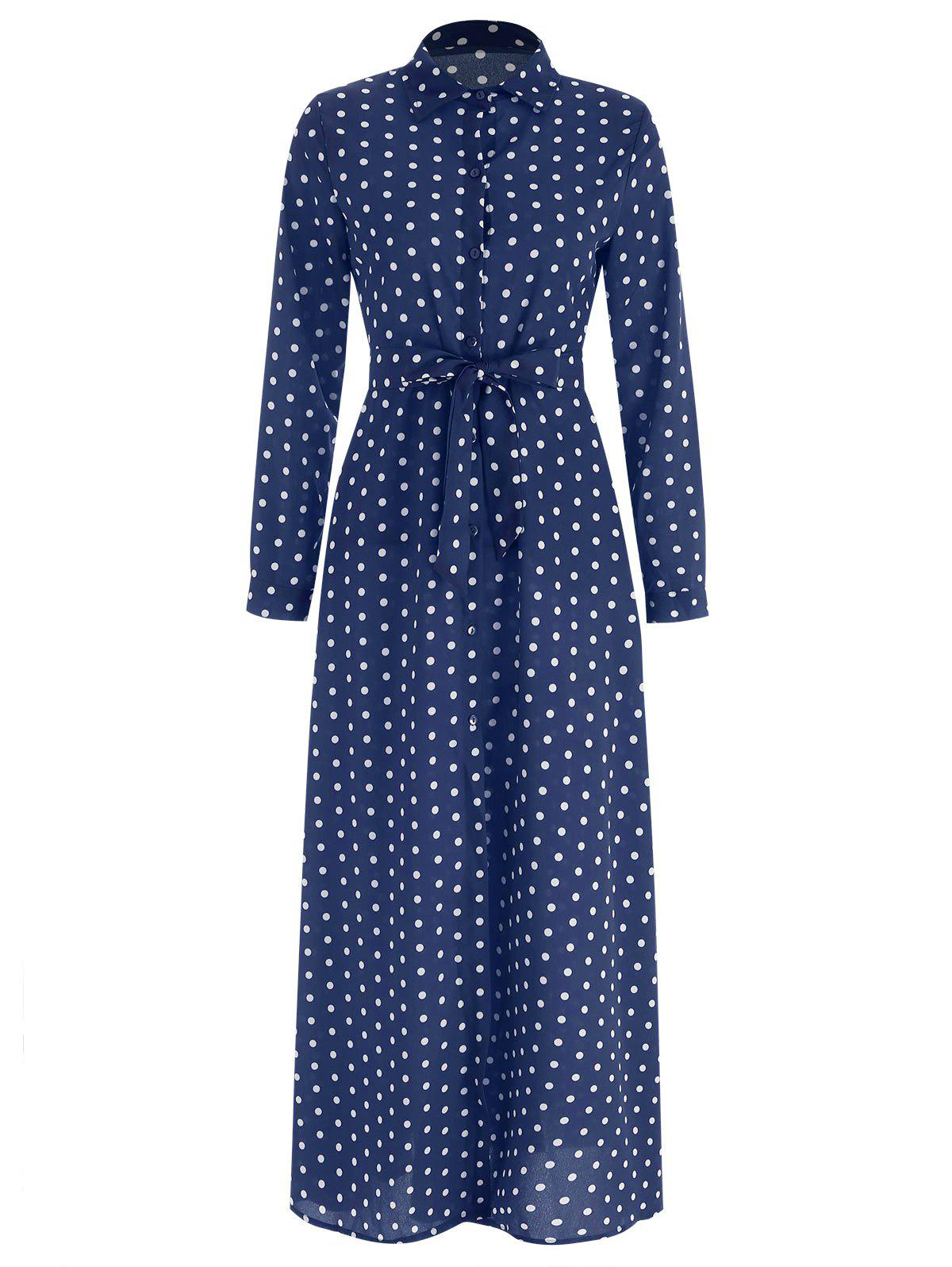 Affordable Full Sleeve Polka Dot Maxi Wrap Dress