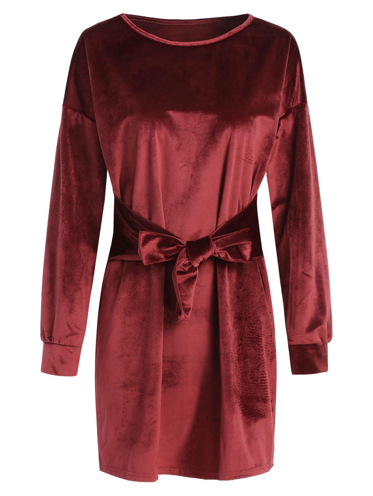 Outfits Tie Front Velvet Straight Dress