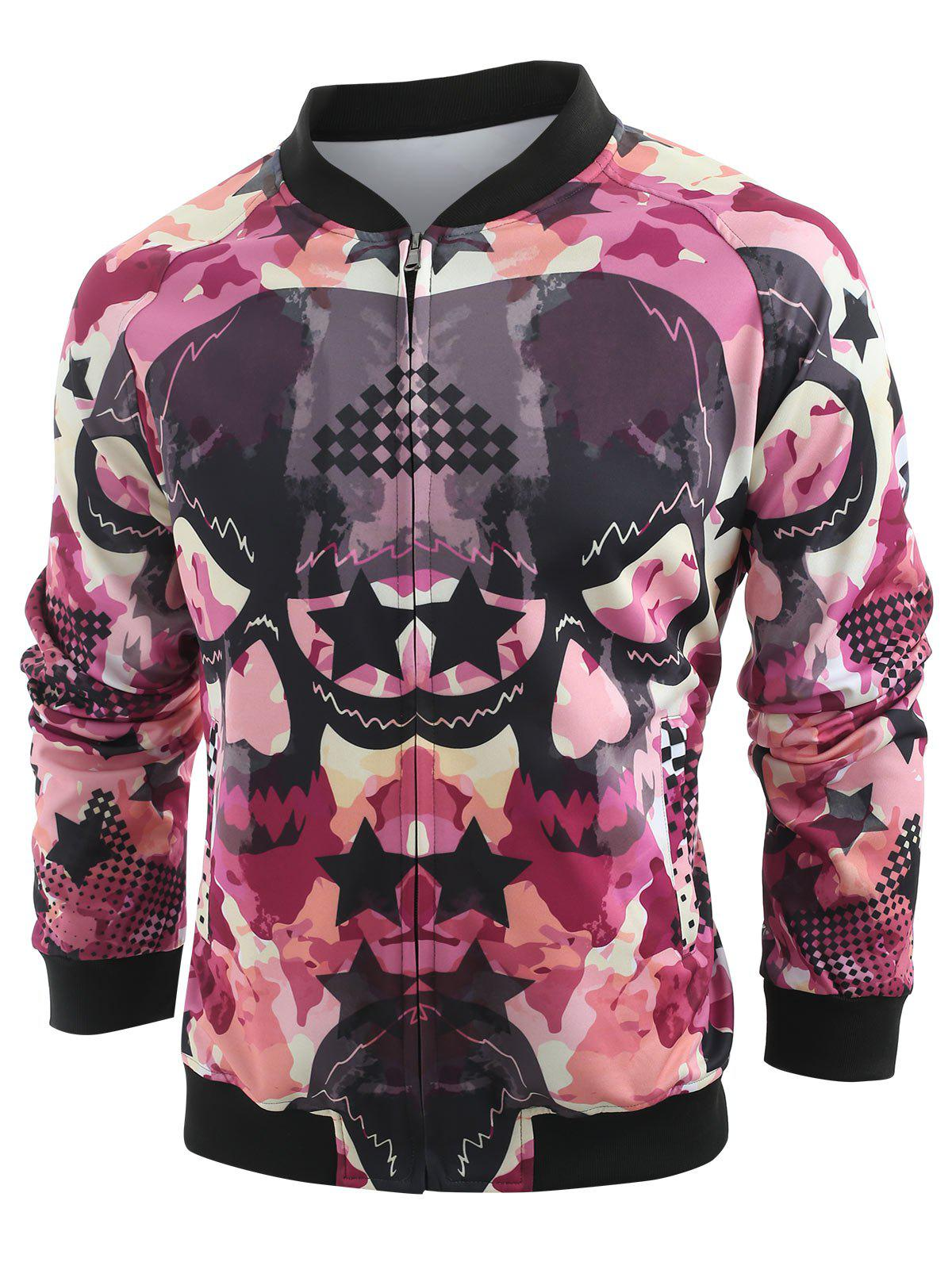 Cheap Skull and Star Print Baseball Jacket