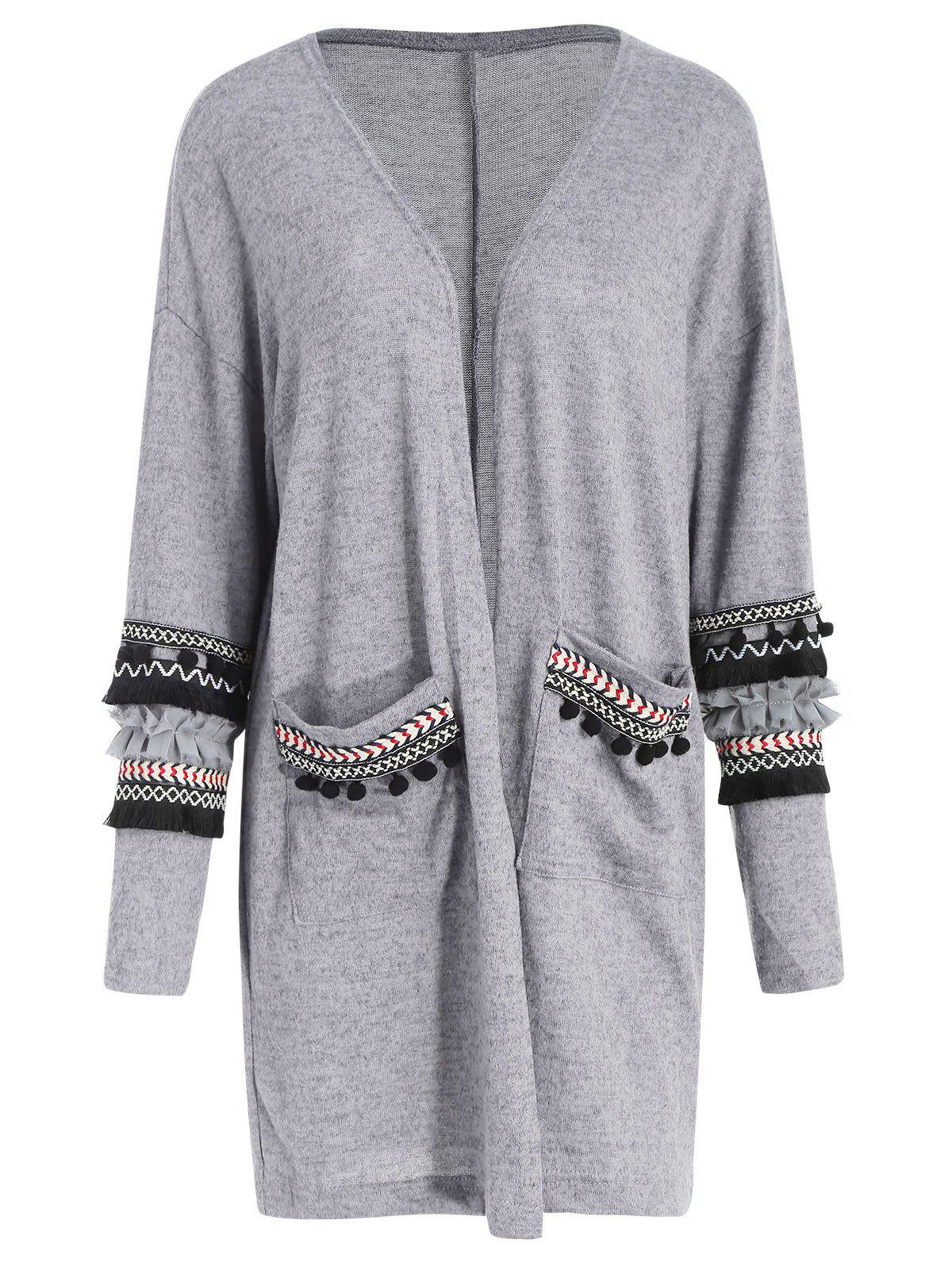 Discount Embroidered Longline Pockets Cardigan