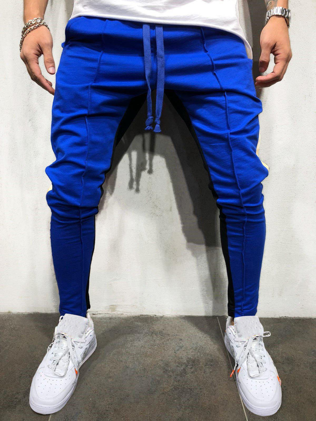 Unique Color Block Stripe Jogger Pants