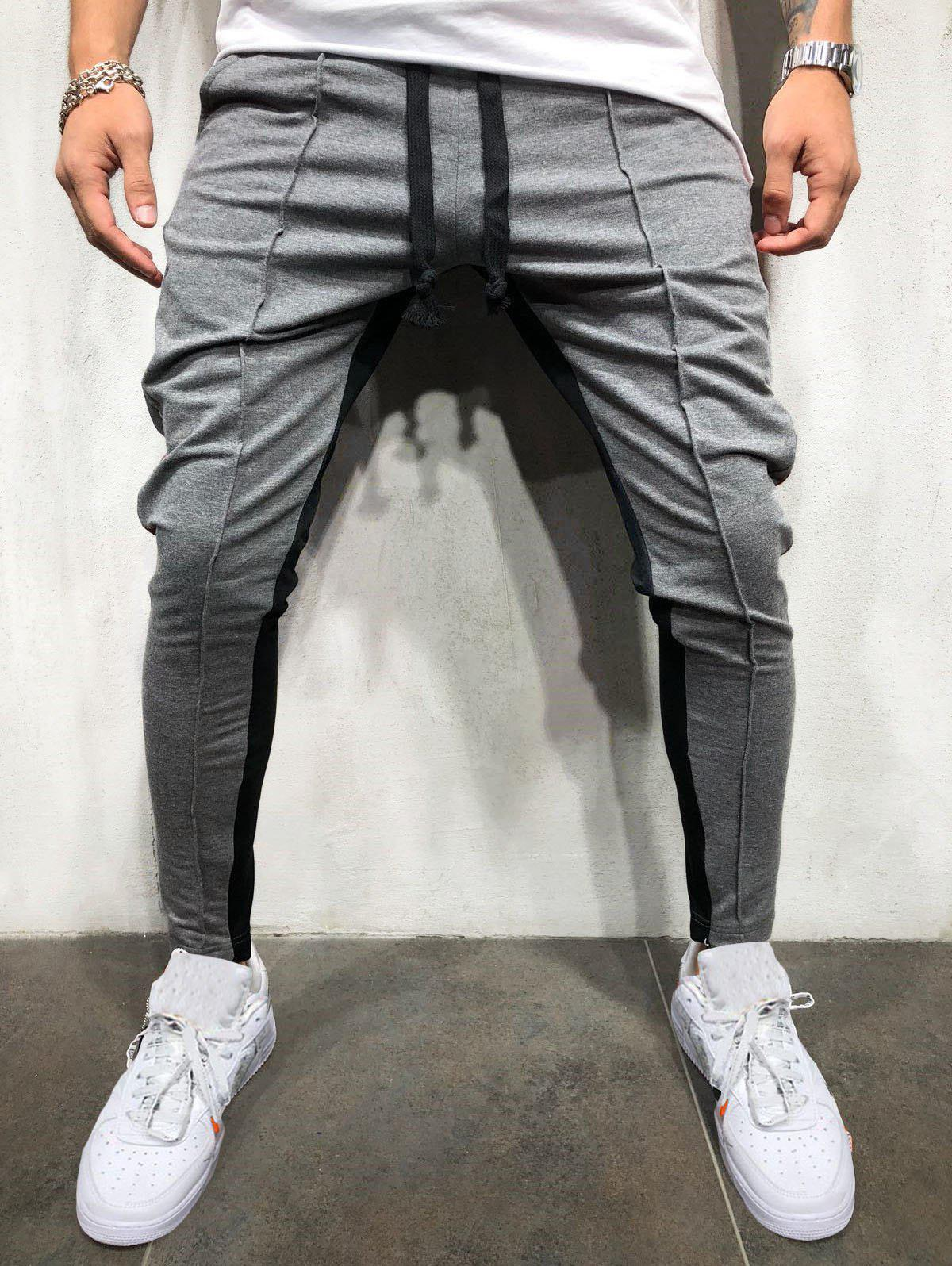 Pantalon de Jogging Rayé en Blocs de Couleurs