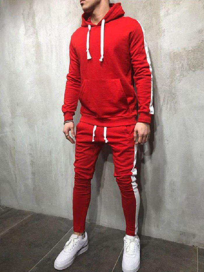 Fashion Side Stripe Hoodie Activewear Suit