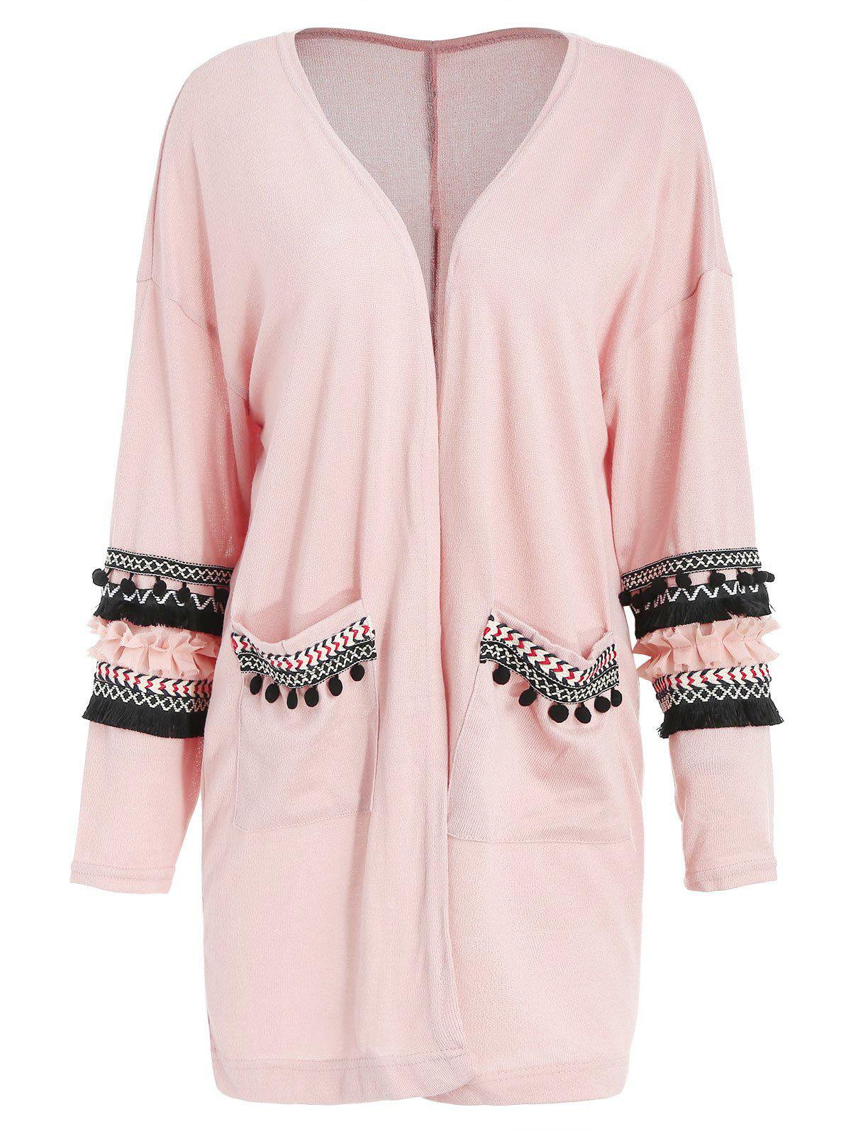 Shop Embroidered Longline Pockets Cardigan