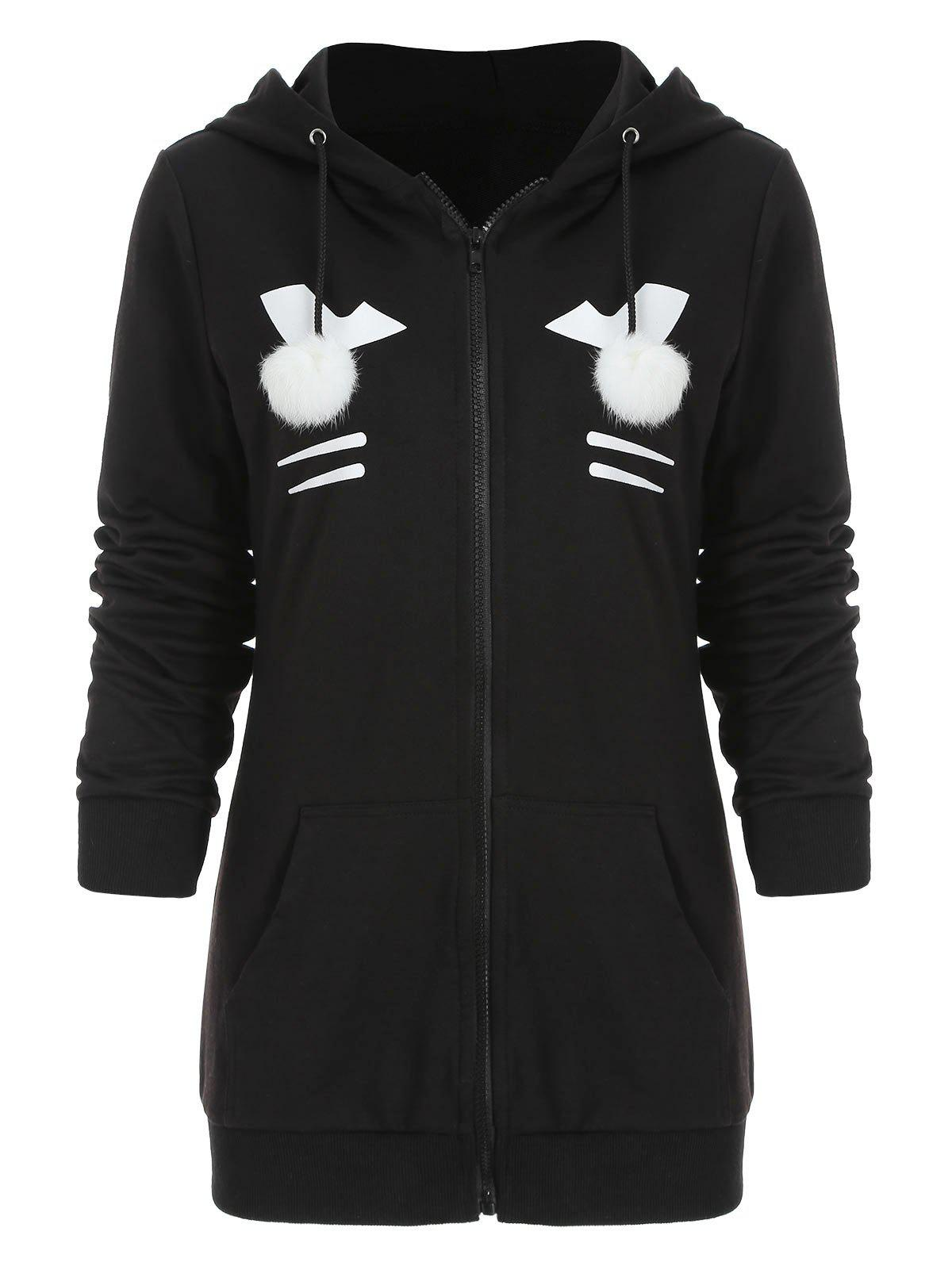 Zip Up Black Cat Hoodie avec Pom Ball