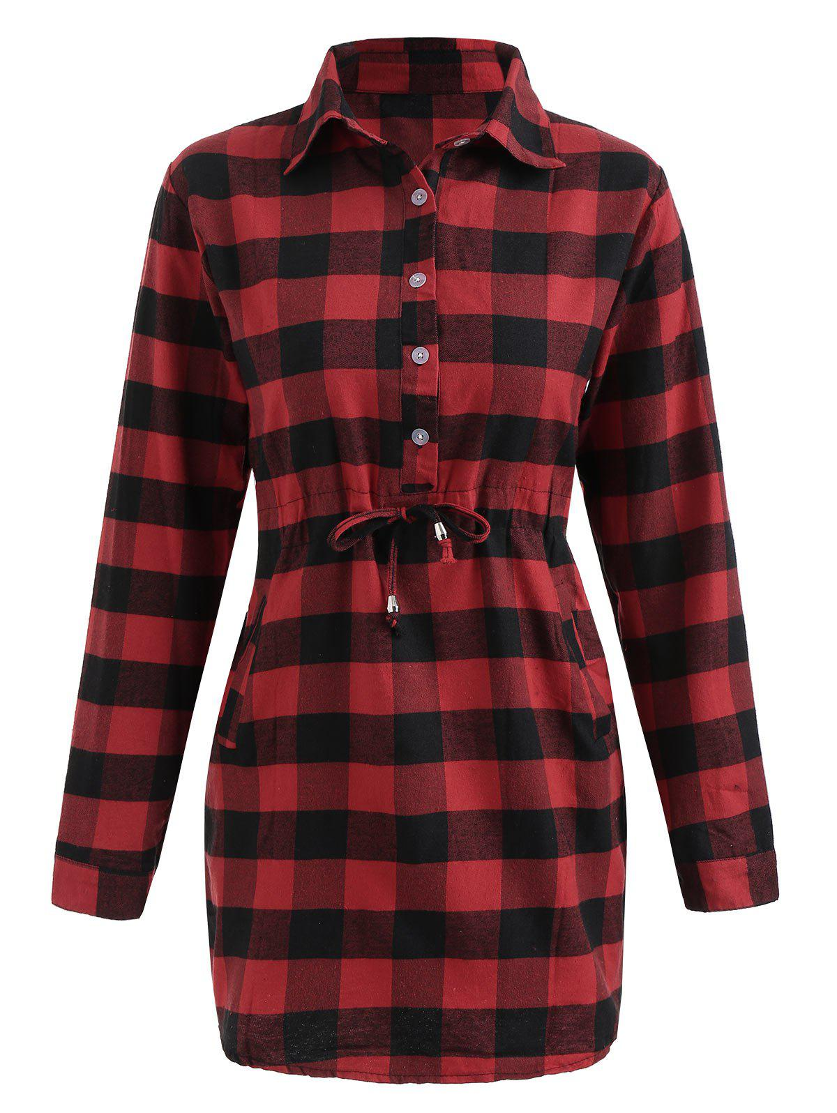 Outfits Full Sleeve Button Up Tartan Dress