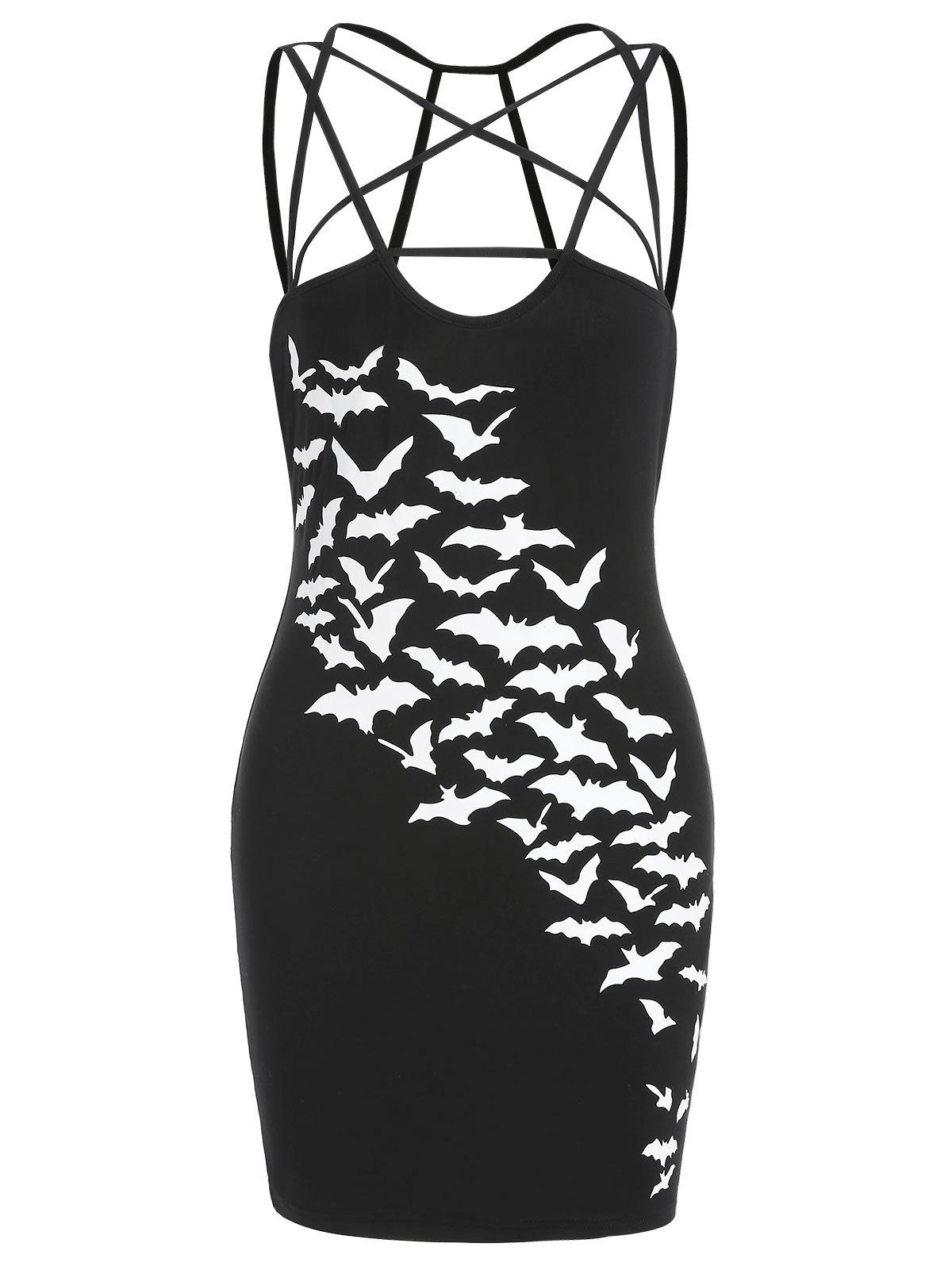 Cheap Halloween Bats Print Sleeveless Bodycon Dress