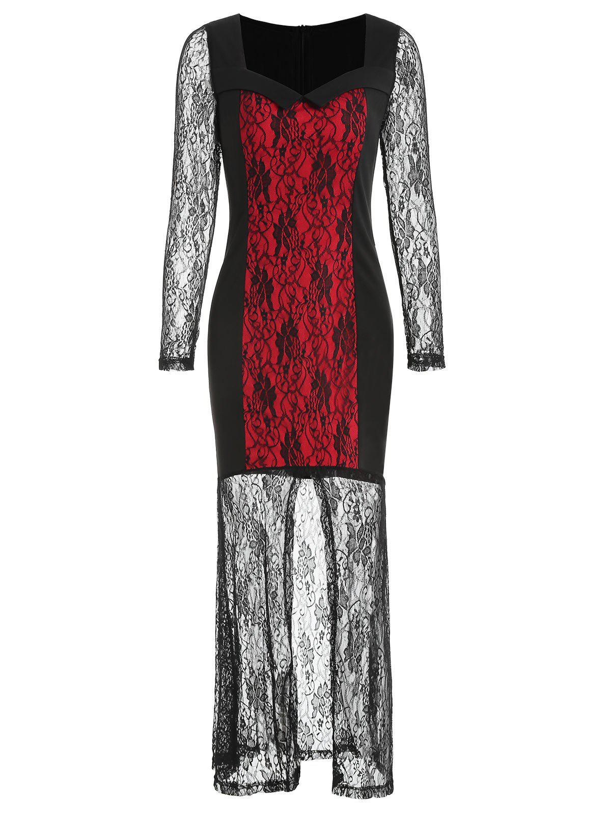 Cheap Full Sleeve Halloween Floral Lace Dress