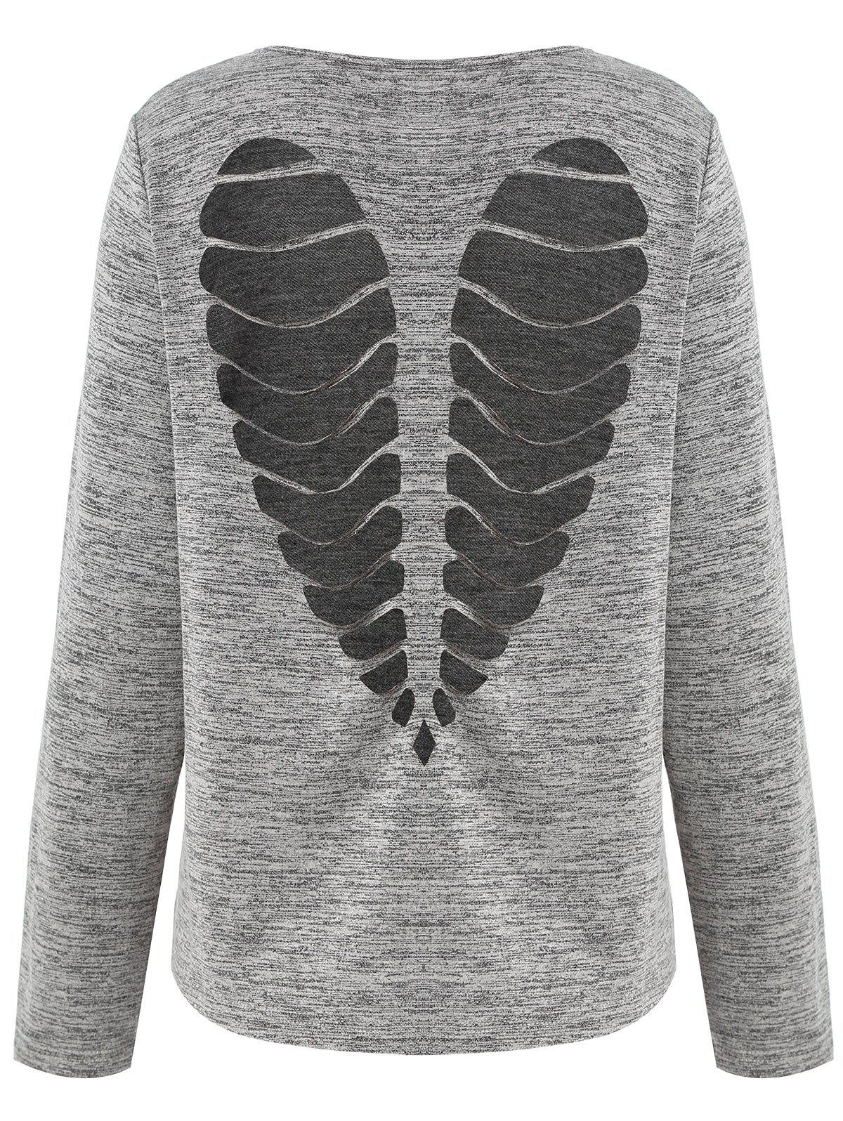 Affordable Long Sleeve Heart Cut Out Marled T-shirt